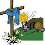 Easter cross and empty tomb